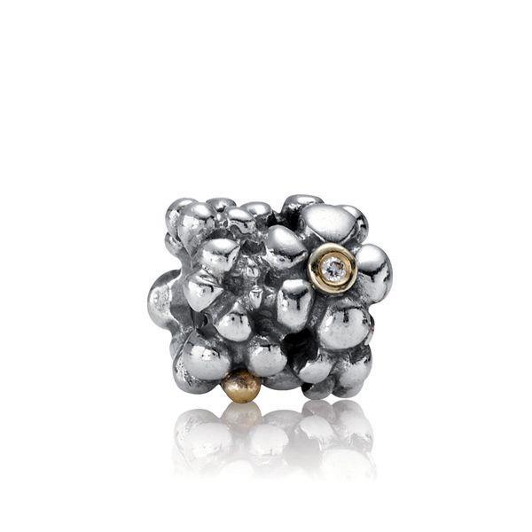 Pandora Site Officiel-Charm Pandora Bicolore et Diamant - Fleur-€47.99