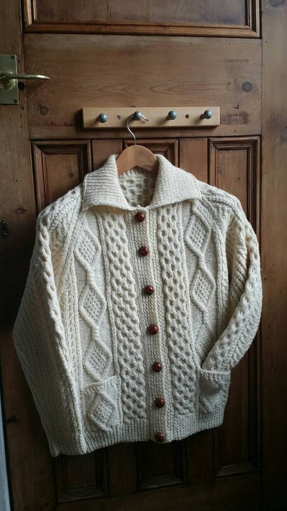 Vintage Aran cardigan / ladies sweater / by dollycalledtopsy