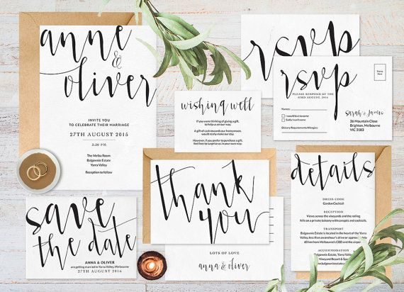 love these black and white wedding invites