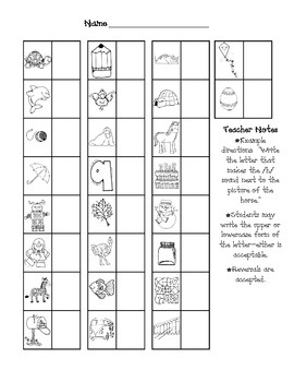 This is a simple assessment used to determine if children know letter sounds! *All clipart is DJ Inkers...