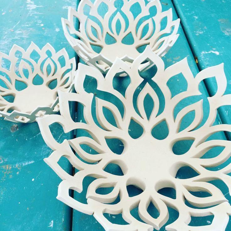Hand Carved Ceramics!  Nesting Mandala Bowls by Quigley Ceramics.  www.quigleyceramics.com