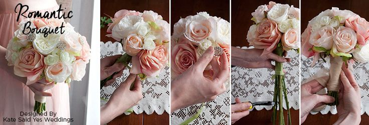 Create this romantic rose and ranunculus bridal bouquet, with high-quality silk flowers from Afloral.com. This DIY wedding bouquet, designed by Kate Said Yes We