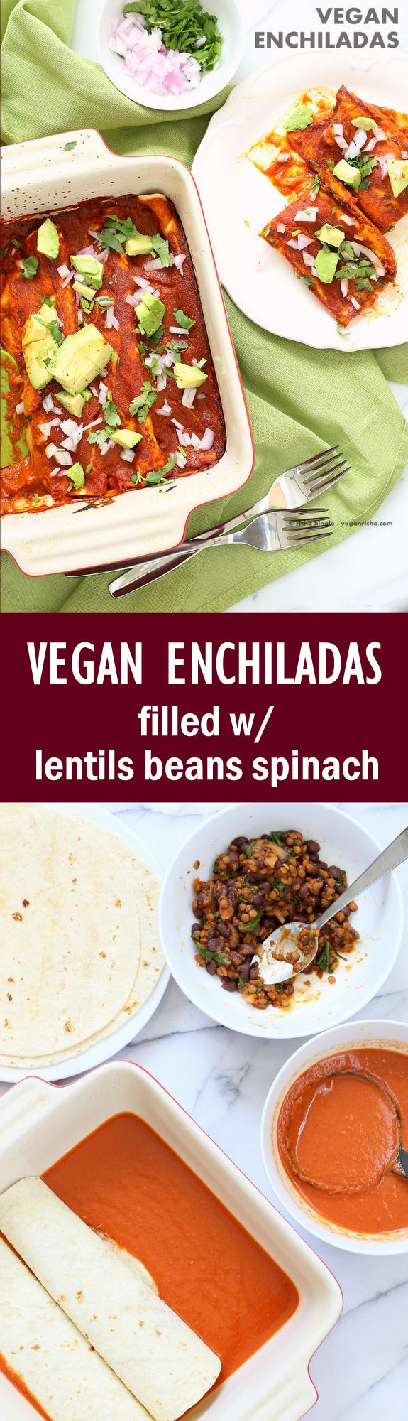 Vegan Enchiladas Recipe. Easy Enchilada Recipe with Blender Enchilada Sauce, soft tortillas filled with Black beans and Lentils. #Vegan #Soyfree Recipe. Can be #Glutenfree. Ready within One Hour | VeganRicha.com
