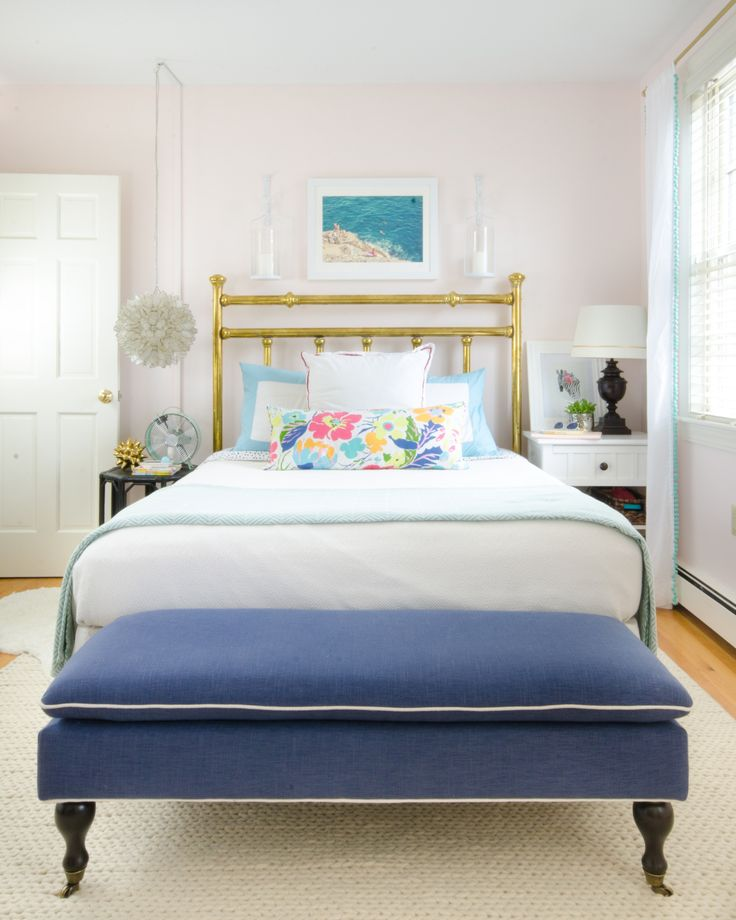 Gorgeous, ageless, chic big girl bedroom featuring white, aqua, navy blue, and…