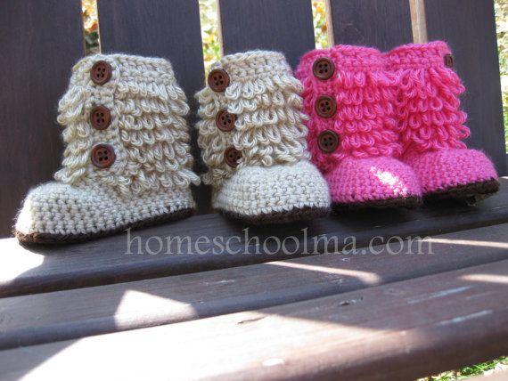 Crochet baby Ugg inspired boots Hot Pink / Oatmeal by homeschoolma, $25.00
