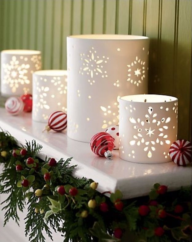DIY Christmas Luminaries and Home Decor for The Holidays - Photo Paper Snowflake Luminaries - Cool Candle Holders, Tea Lights, Holiday Gift Ideas, Christmas Crafts for Kids - Line Winter Walkways With Rustic Mason Jars, Paper Bag Luminaries and Creative Lighting Ideas http://diyjoy.com/diy-christmas-luminaries