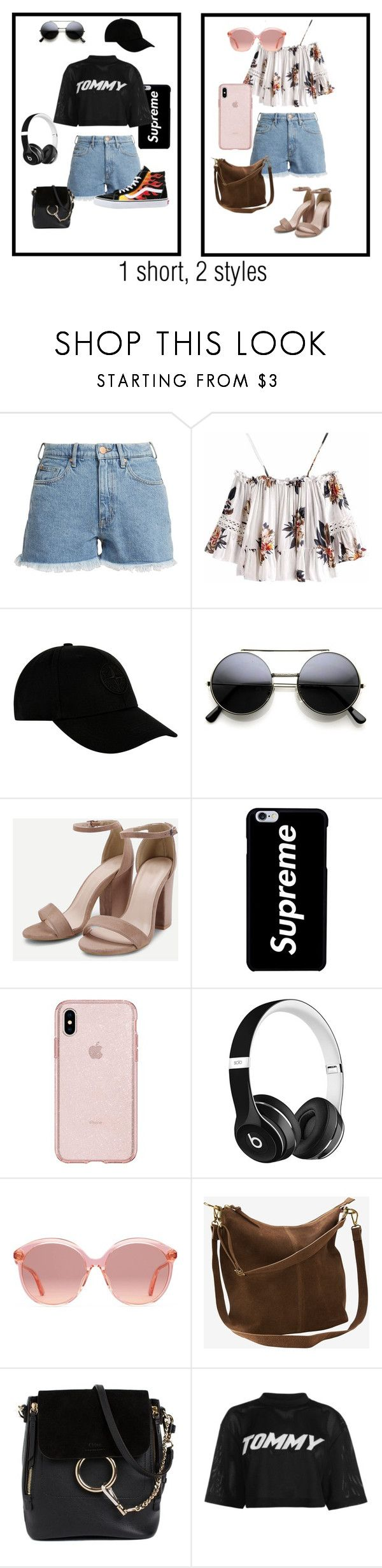 """""""1 short, 2 styles"""" by iris195 on Polyvore featuring mode, M.i.h Jeans, STONE ISLAND, Beats by Dr. Dre, Gucci, Ellos, Chloé, Tommy Hilfiger en Vans"""