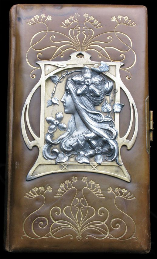 ART NOUVEAU Photograph Album Pewter Leather - Tadema Gallery, London