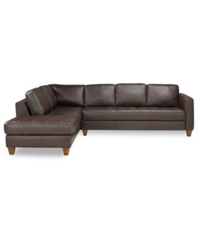 Milano Top Grain Leather 2 Piece Sectional Chaise Sofa In A Walnut Finish