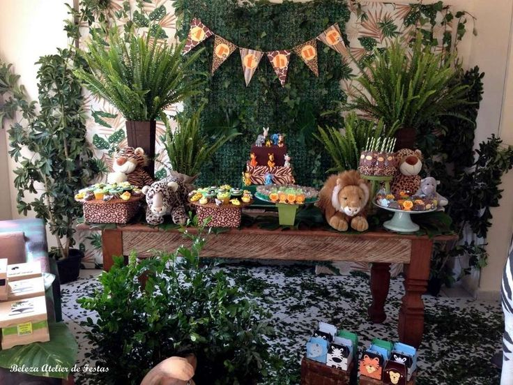 Jungle Safari birthday party dessert table! See more party planning ideas at CatchMyParty.com!