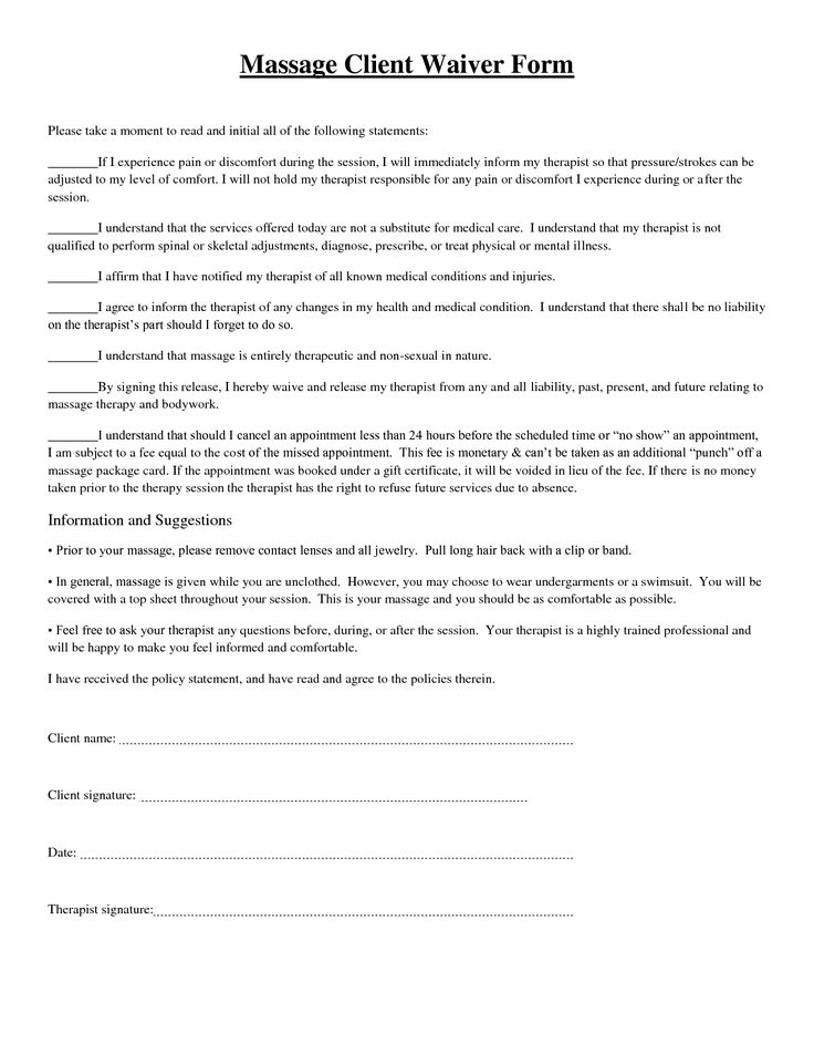 1094 best massage Business images on Pinterest Massage, Massage - general liability release form template