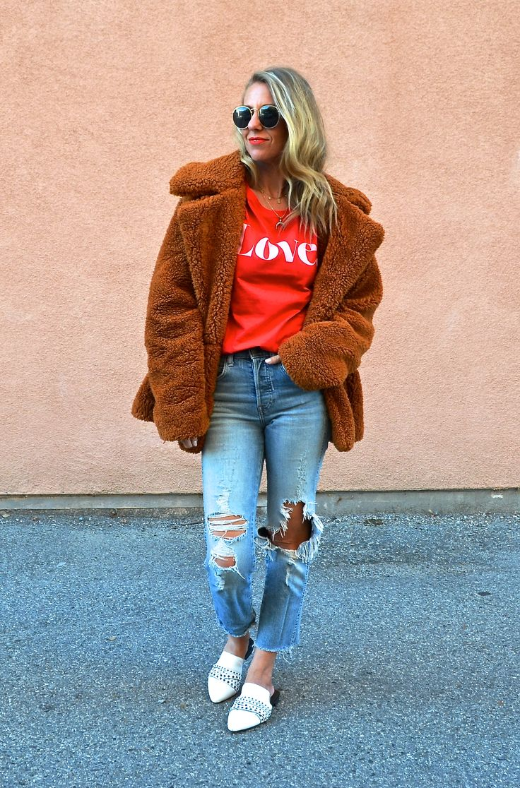 VALENTINE'S GRAPHIC TEES FOR THE WHOLE FAMILY - Jaclyn De Leon Style + love graphic tee + urban outfitters + free people cozy teddy coat + bohemian style + distressed denim + something navy white mules + street style inspo + what to wear this valentines day + holiday outfit inspiration + casual style + mom style #freepeople #pursuepretty #stylegram #styleblog