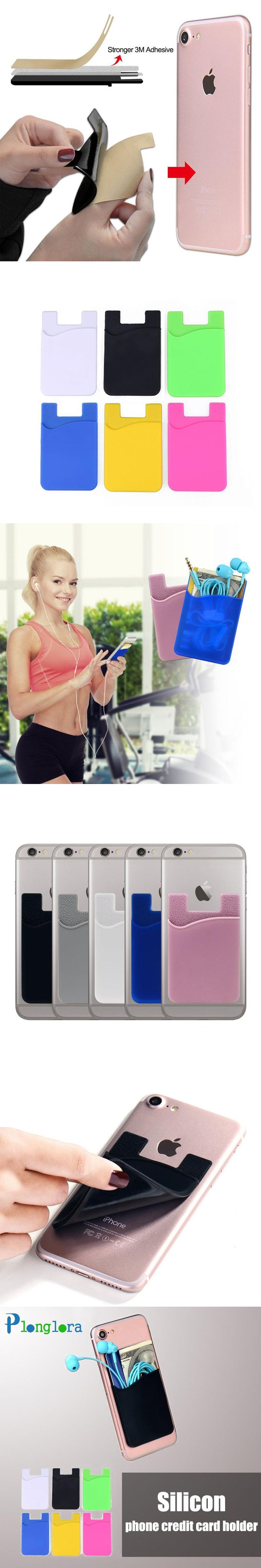 Self Adhesive Credit Card Holder Sticker Smart Wallet Pouch Sleeve Universal for iPhone 6 6S Plus Samsung Galaxy porta tarjeta