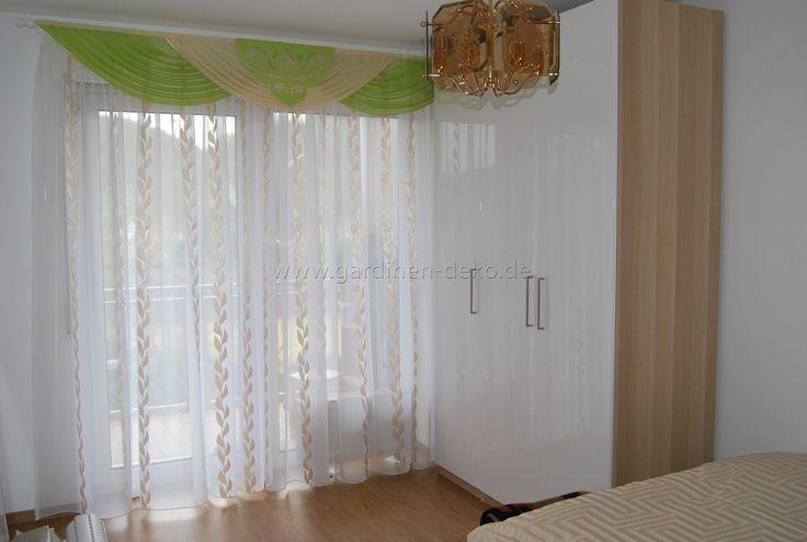 Klassischer Vorhang fürs Schlafzimmer in weiß-grün-beige -