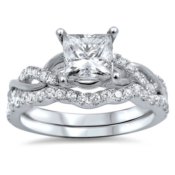 Noori 14k White Gold 1ct TDW Princess-cut Clarity Enhanced Diamond Bridal Ring Set (G-H, SI1-SI2)