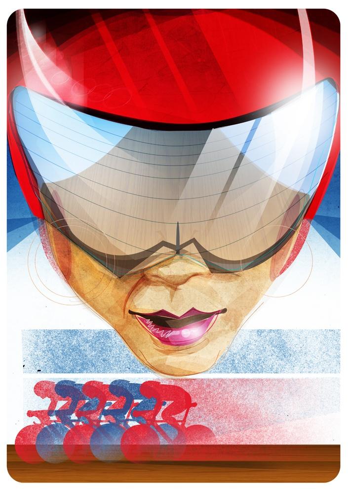 Victoria Pendleton, Olympics, illustration, artwork, print, cycling, poster, Team GB