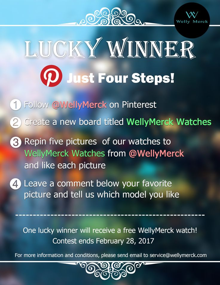 Pinterest contest-Four steps to win a WellyMerck Watch!