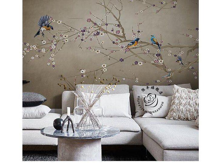 One Large Branch Tree White Flowers Wallpaper Wall Mural Magnolia Floral Wallpaper Flowers And Birds Oriental Wall Murals In 2021 Muurschildering Behang Muurschildering Behang