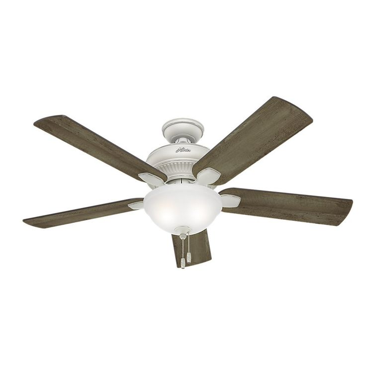Hunter Fan Company 54091 Matheston 52-Inch Cottage White Ceiling Fan with Five Gray Pine Blades and a Light Kit - - Amazon.com