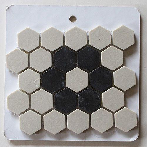 vintage tile patterns | black and white flower pattern hex tilesWhite Flowers, Pattern Hex, Black And White Honeycomb Tile, Flower Hex Floor Tile, Vintage Tile, Tile Pattern, Hex Tile Flower, Flower Patterns, Vintage Hex Tile