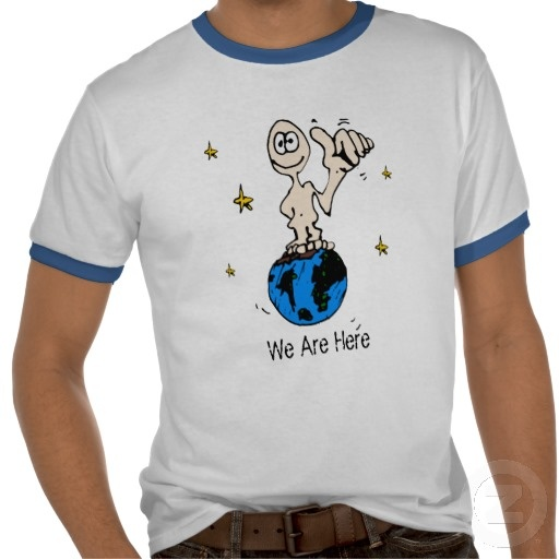 """Adapted after the """"They are here"""" slogan, this sketchy character on a globe representing the Earth in space, accompanied by the """"We are here"""" slogan is a gentle reminder of how lucky we are to have such a beautiful planet and that we should cherish and preserve her since we are already here."""