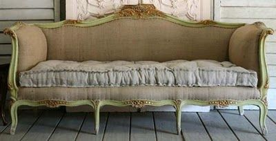 Burlap upholstered French Sofa - OMGoodness, stop with the burlap upholstery!  You can't sit on the stuff.  Use something so you can actually use your furniture!  It's not all for show!