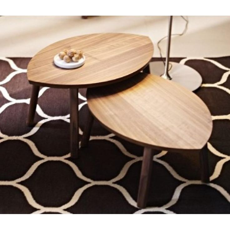 Ikea Stockholm Walnut Veneer Nesting Tables - Pair-0