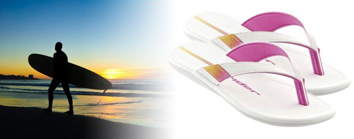 Surf N - Pink/White Perfect for the beach and the street, this vibrant thong has a comfortable two-toned, EVA-lined upper, and a cushioned rapped-toe tether attached to Rider's exclusive Flexpand footbed.
