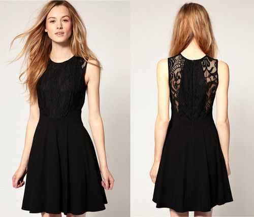 Sexy Black Lace Sleeveless Knee Length Dress s M L XL | eBay