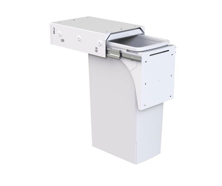 Hideaway Soft Close model: SC140D-W. 1 x 40 litre bucket in Arctic White. Large bucket capacity for those looking for a single bin solution. Features a patented air vent system to maximise bag volume. Features a friction-fitted lid with a Clinikill™ antibacterial powder coating.