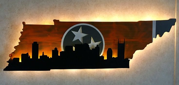 Tennessee state outline With Nashville Skyline
