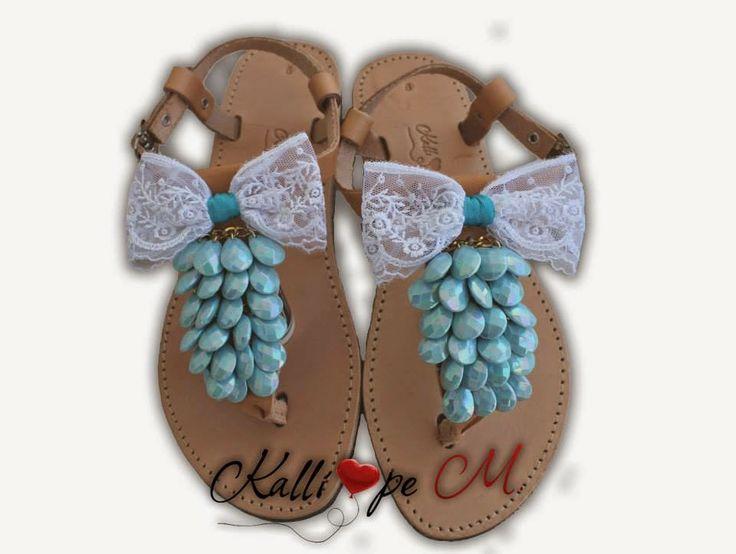 Bridal, handmame leather sandals. #handmade #sandals #wedding #bridal #bow #bohemian #hippie #babyblue #blue #lace #leather #summer #ideas
