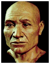"Kennewick-Man-skull fully intact w all teeth present at time of death. All main bones found, exc sternum & a few bones of hands & feet; remains determined to be ""a male of late middle age (40-55 years); tall (170 to 176 cm), slim build"". radio-carbon dating-fixed age at around 8,400 radiocarbon yrs or 9,300 cal yrs, - Caucasoid male -DNA analyzed - 18 modern pops -most closely related to the Ainu."