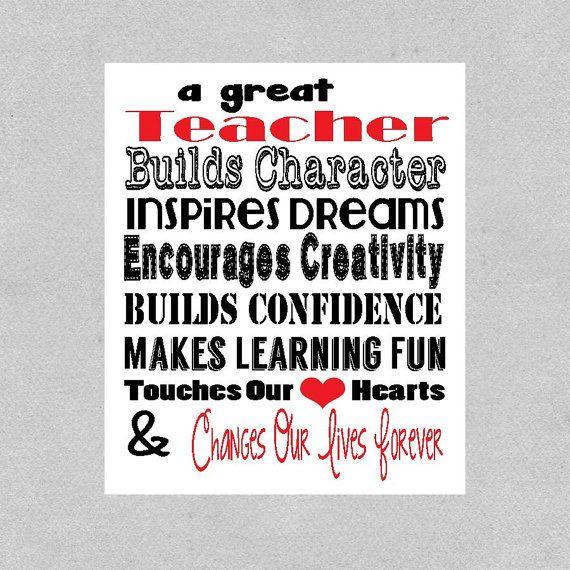 Teacher Valentine Gift Great Teacher Print by DaizyBlueDesigns, $8.00