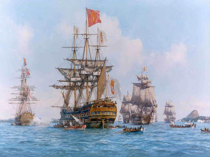 Galeão Príncipe Real (1771-1822) fundeado na baía da Gunabara, Rio de Janeiro. Marinha de Guerra Portuguesa: Navios da Real Marinha de Guerra Portuguesa I