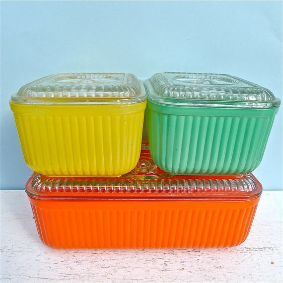 Ribbed Glass Refrigerator Dishes Vintage Kitchen In 2019