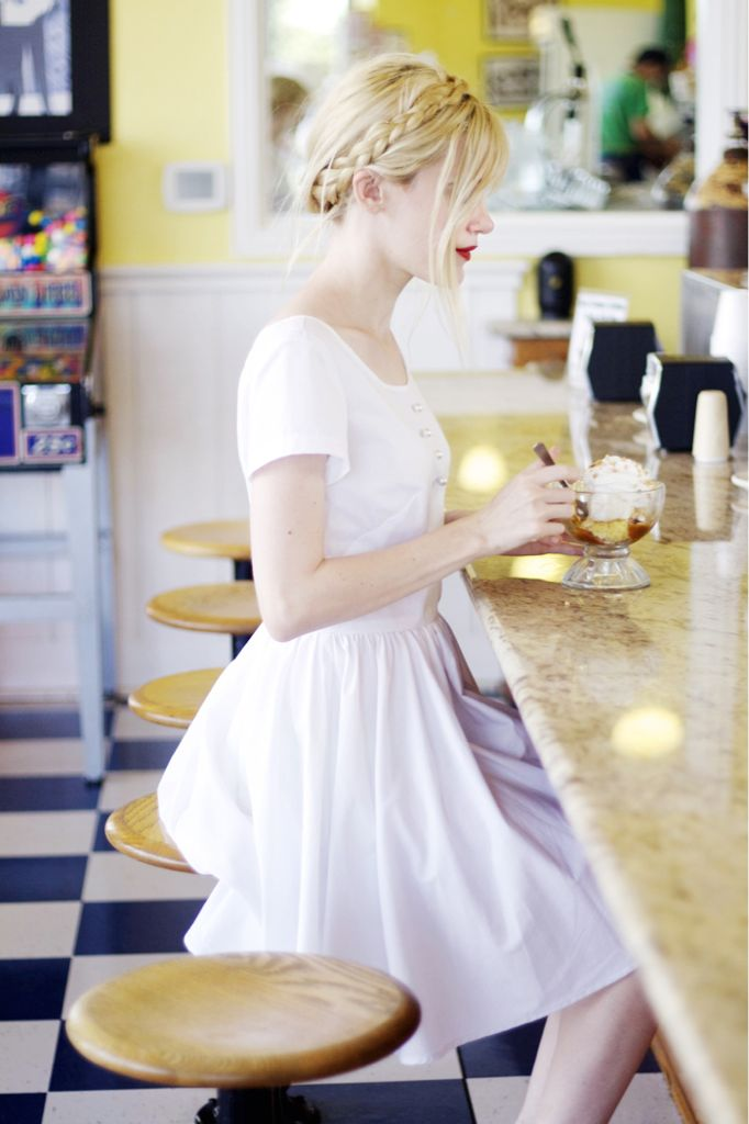 Hair and dress: Summer Dresses, Style, Summer Hair, Milkmaid Braids, Red Lips, The Dresses, Little White Dresses, Icecream, Ice Cream Parlor