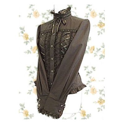 Cotton brown tie front blouse Lolita