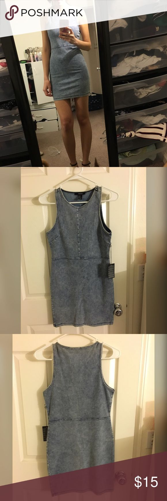 Denim Bodycon Dress Cute denim Bodycon Dress. Stretchy and very comfy. New with tags. Forever 21 Dresses
