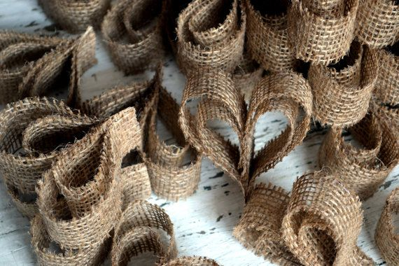 50 Burlap Heart Wedding place setting/name tags by LaPommeEtLaPipe, $100.00