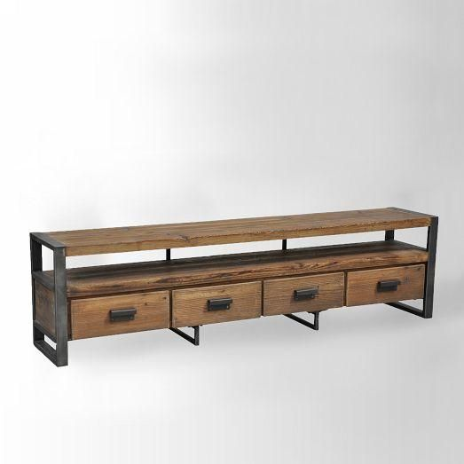 Storage Furniture - Bin Pull Media Console | west elm - industrial media console, wood and iron media console, reclaimed pine media console,...
