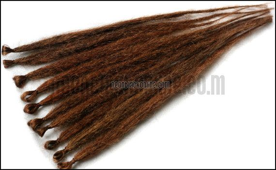 Single ended dread extensions - Brown natural dreads - set of 10 made to order