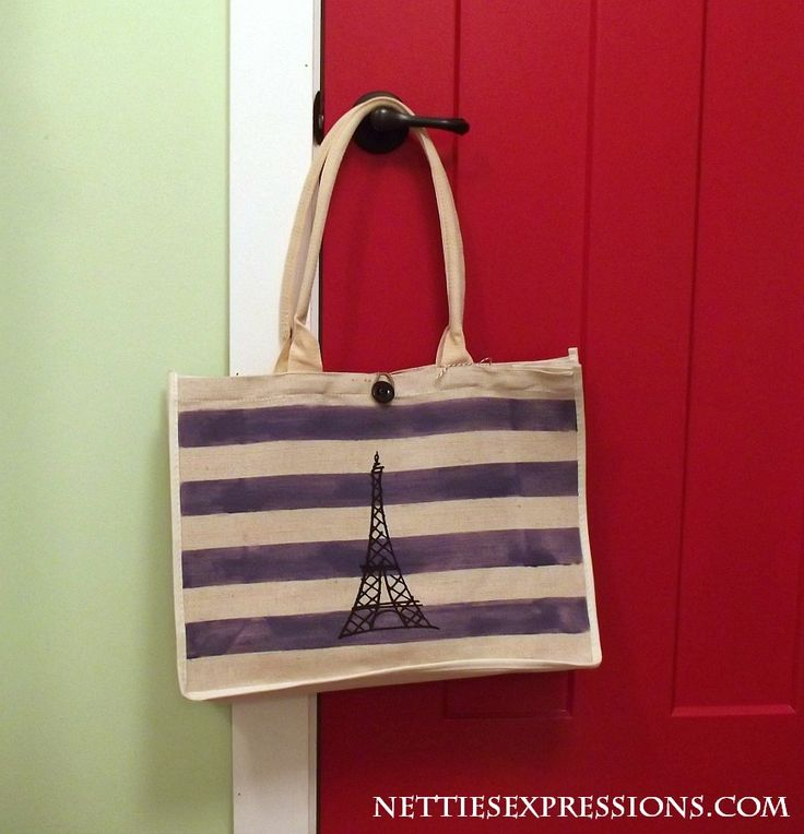 Eiffel Tower with stripes | Cotton tote bag customized with heat transfer vinyl designed and created by Netties Expressions |  © 2017 Netties Expressions | https://www.nettiesexpressions.com