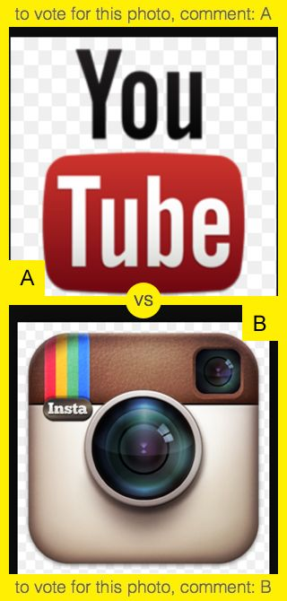 To vote for top photo comment A, to vote for bottom photo comment B. See results at http://swingvoteapp.com/#!polls/1388. Click here http://swingvoteapp.mobi/ to install Swingvote mobile app and create your own polls.
