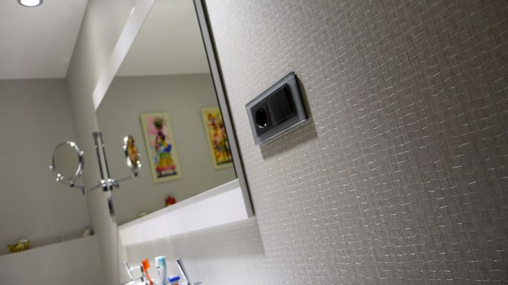 detalle del revestimiento de pared vescom en un cuarto de baño