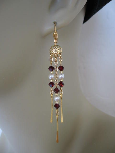 Swarovski Chandelier Chain Earrings  Garnet by pattimacs on Etsy