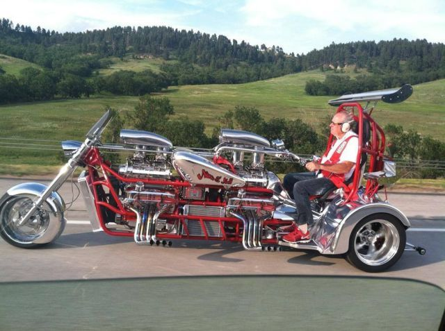 Extended Trike With Two Blown V 8 Engines Wheelie Bar Dual Rear