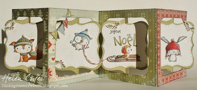 Helen Cryer using the Sizzix Accordion Album, Frame & Label Bracket and Label Stitched Frames - The Dining Room Drawers: Purple Onion Christmas Accordion Album