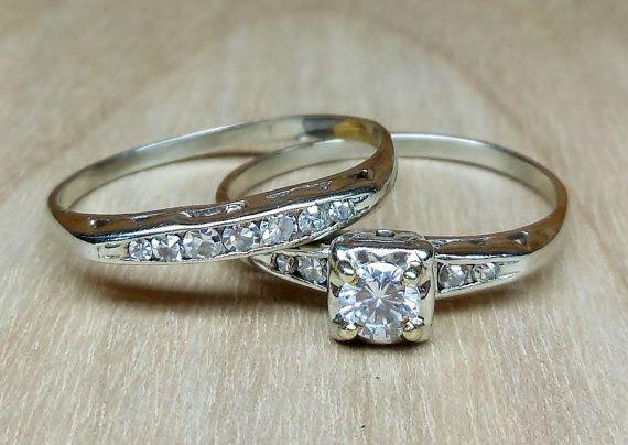 Vintage Antique .45ct G VS Round Brilliant Cut Diamond 14k White Gold Engagement Ring Wedding Set 1950 on Etsy, $575.00
