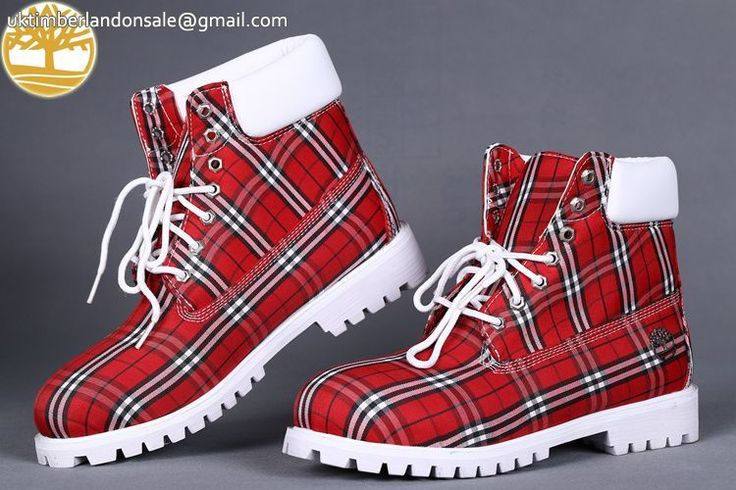 Custom Red Lattice-White Timberland 6 Inch Men Boots Sale $90.99